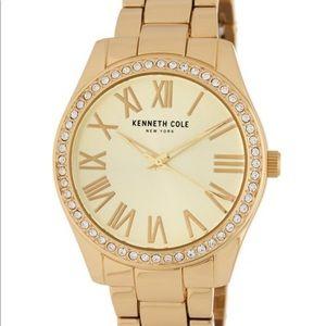 Kenneth Cole 3 Hand Crystal Gold Bracelet Watch
